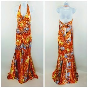 Morgan & Co Jrs Dress Tie Dye Orange Ruched Sz L